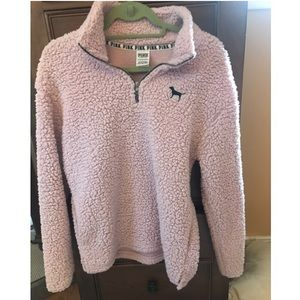 PINK Sherpa 3/4 zip pullover